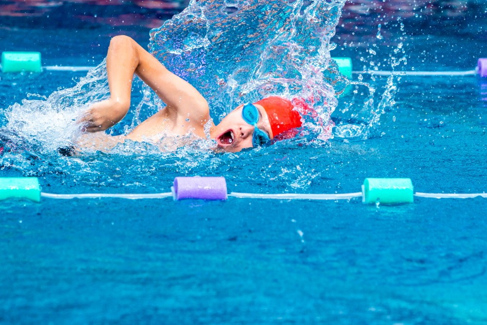 Boy Swimming Free Style